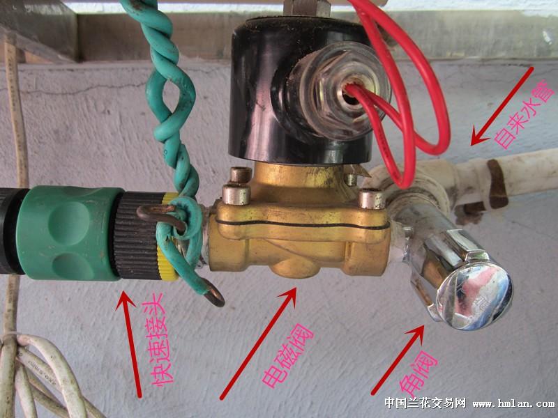 电磁阀直接接到自来水管上,通过电磁阀通断电控制出水.图片