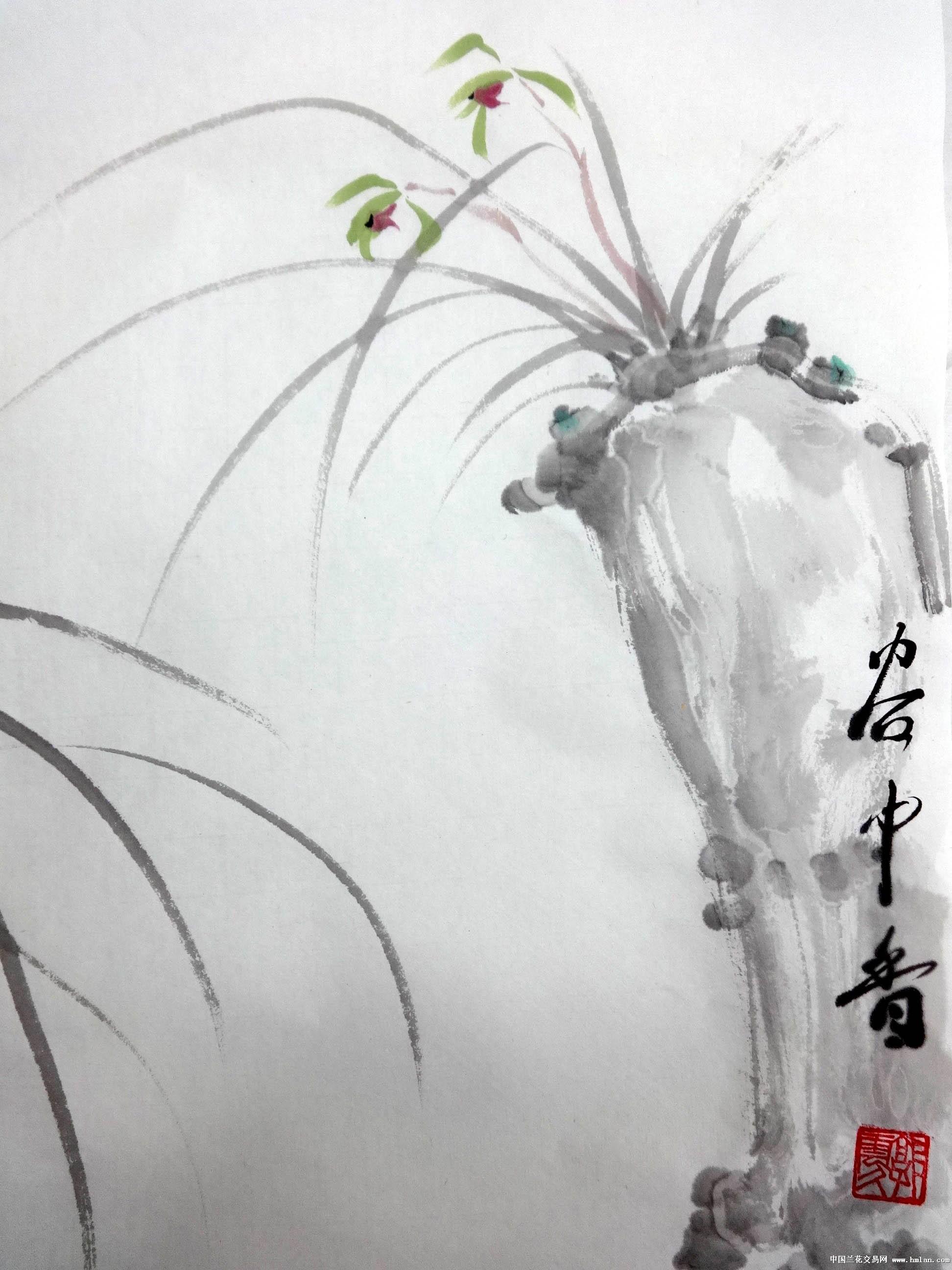 国画 兰花写意-谷中香